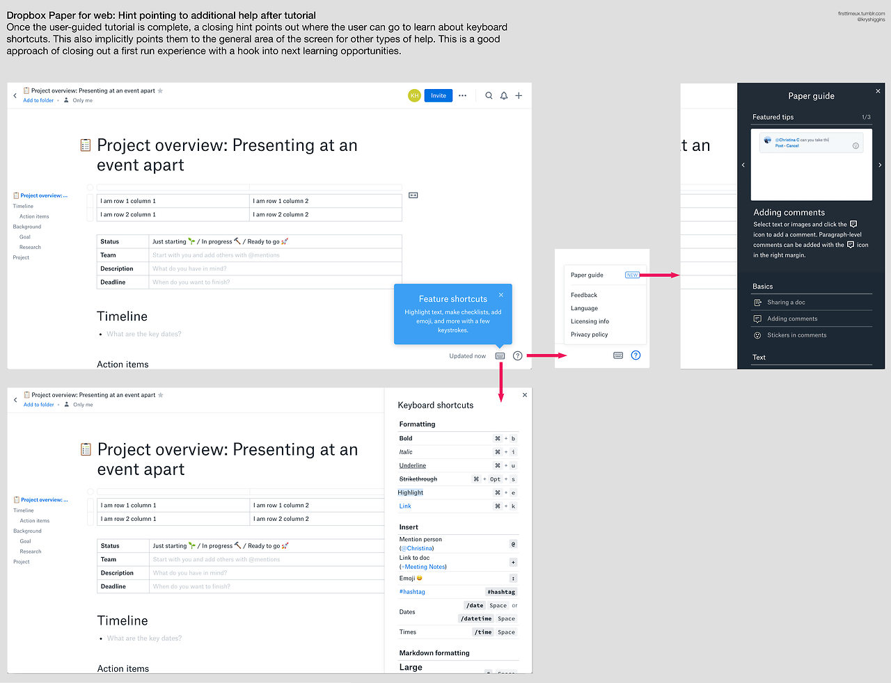 Dropbox Paper - first time introduction - screens 05