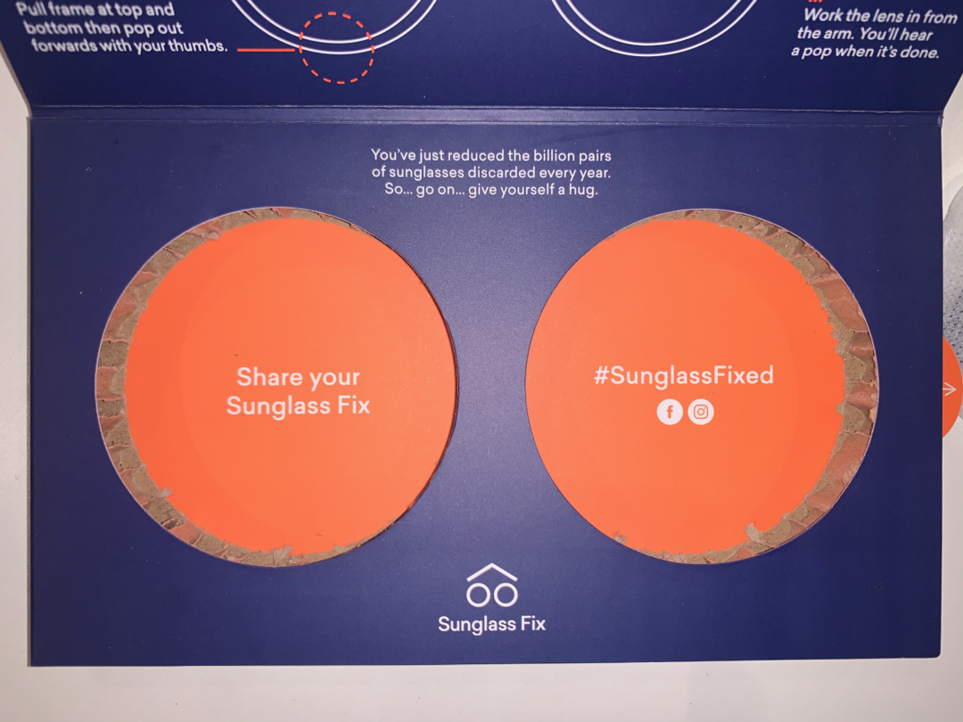 Photo of sunglass packaging with instructions
